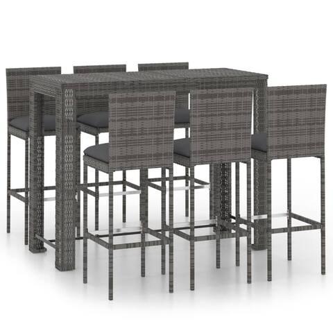 vidaXL 5 Piece Garden Bar Set with Cushions Poly Rattan Black