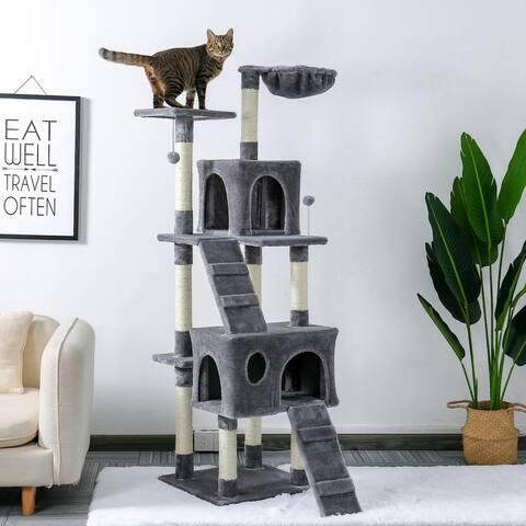 "68"" Pet Cat Tree Tower Climbing Shelf Game Habitat"