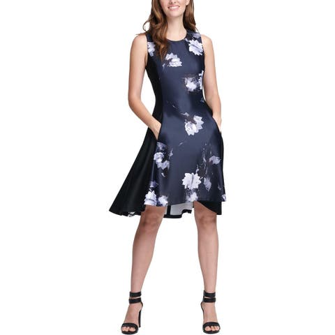 DKNY Womens Scuba Dress Floral Panel