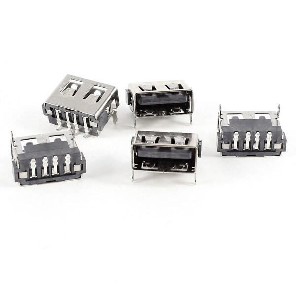 Unique Bargains 5pcs USB A Female Port 180 Degree 4-Pin SMD SMT Jack Soldering Socket