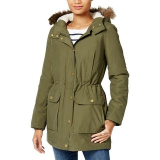 Tommy Hilfiger Womens Parka Hooded Fur Trim