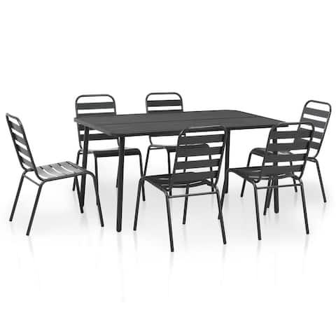vidaXL Outdoor Dining Set 7 Pieces Steel Dark Gray Slatted Furniture Garden