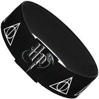 "Deathly Hallows Symbol Black White Elastic Bracelet   1.0"" Wide"