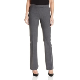 Anne Klein NEW Gray Women's Size 8 Bootcut Front-Tab Solid Dress Pants