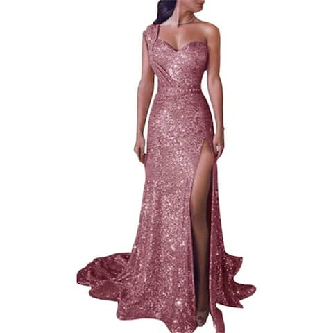 Sexy One-Shoulder Sleeveless Hot Gold Dress Slit Dress