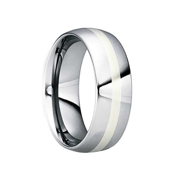 CRISPINUS White Gold Inlaid Tungsten Ring with Polished Finish by Crown Ring - 8mm