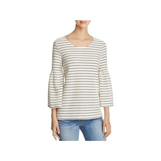 Calvin Klein Womens Casual Top Striped Bell Sleeves