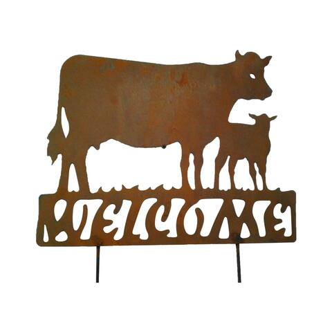 California Home and Garden Metal Rustic Look Rust Cow Welcome Sign on Stake, 18 Inch Tall, Brownish Red