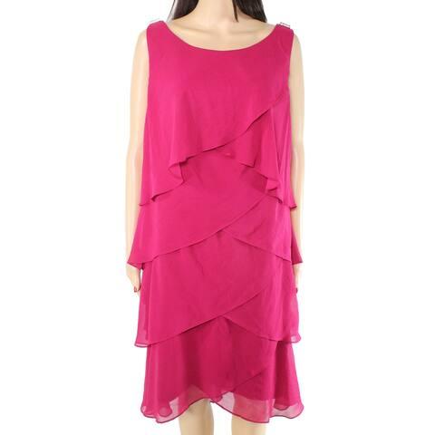 SLNY Women's Dress Plum Purple Size 18 Sheath Chiffon Tulip Tiered