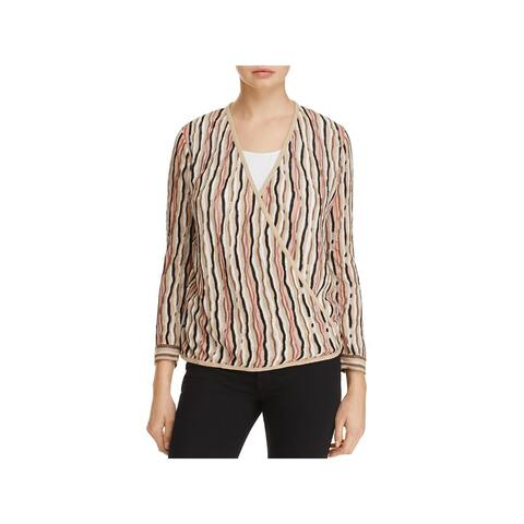 Nic + Zoe Womens Cardigan Sweater Striped Open Front