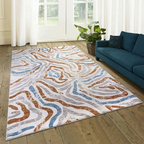 Modern Abstract Graphics Rug Gray/Red/Blue