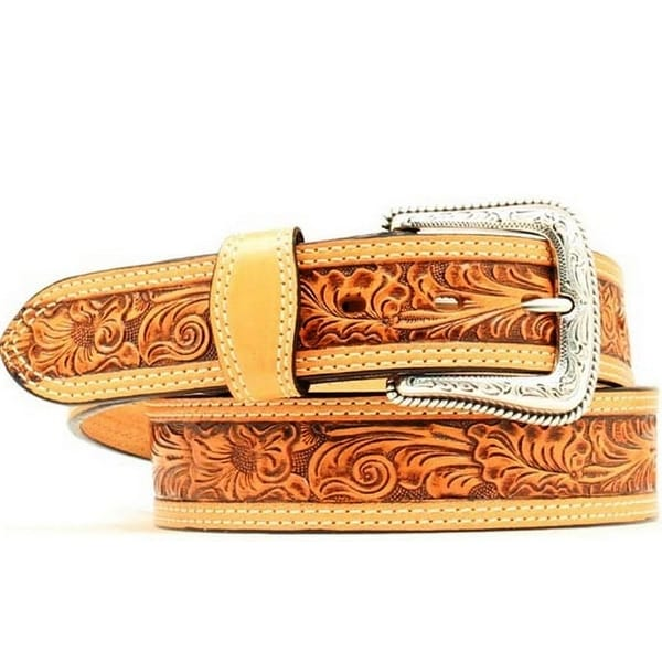 Nocona Western Belt Mens Leather Embossed Tooled Leaf Tan