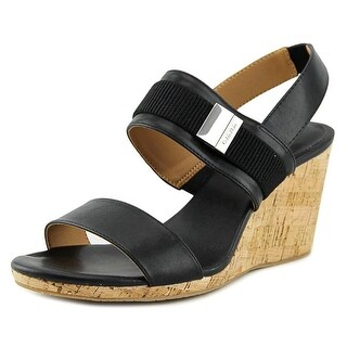 Calvin Klein Brandie Women Open Toe Synthetic Black Wedge Sandal