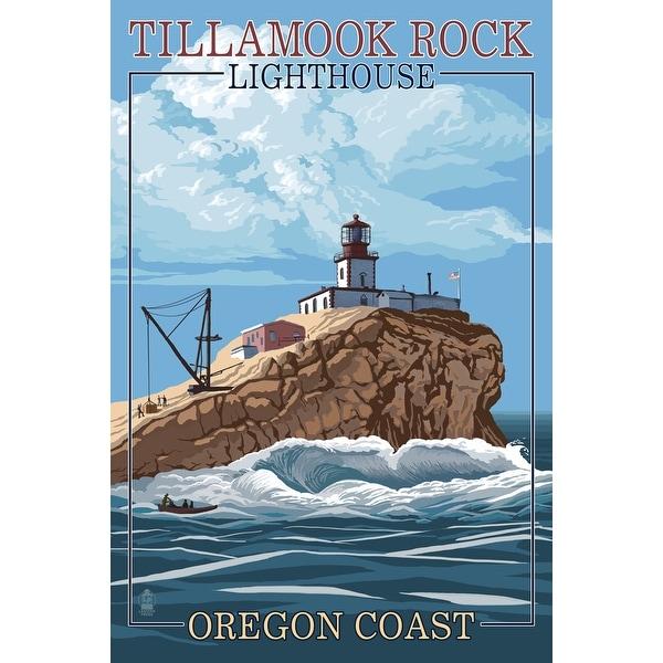 OR Coast - Tillamook Rock Lighthouse - LP Artwork (100% Cotton Towel Absorbent)