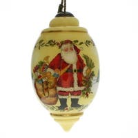 "Ne'Qwa ""Holly Santa"" Hand-Painted Blown Glass Christmas Ornament #7131127 - YELLOW"