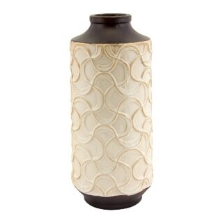 """Pack of 6 White Spiral Design and Brown Antique-Style Decorative Flower Vase 5"""" x 12"""""""