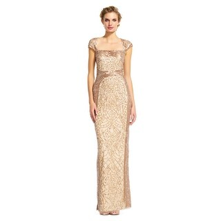 Adrianna Papell Cap Sleeve Sequin Beaded Dress with Cut Out Back - Champagne Gold