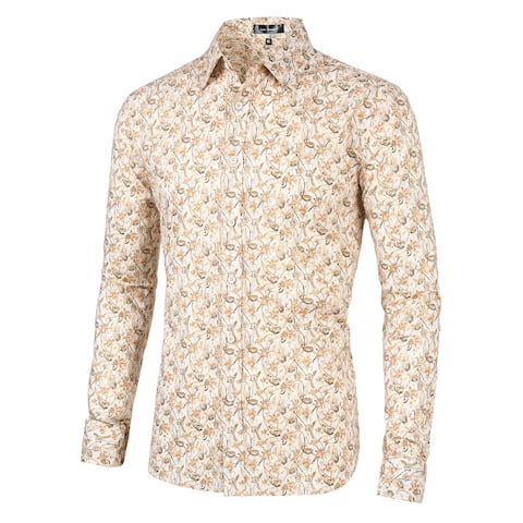 Men Vintage Button Down Long Sleeve Casual Cotton Floral Printed Shirt - Beige