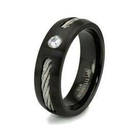 Black Titanium Ring w/ Cable Inlay & CZ