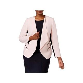 Nine West Womens Plus Open-Front Blazer Colorblock Office