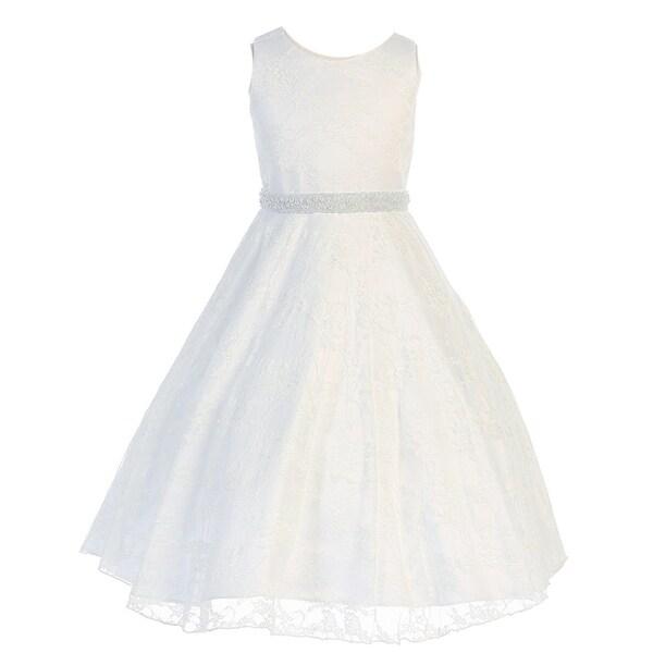 b77fe510a Shop Little Girls White Lace Overlay Satin Flower Girl Dress - Free ...