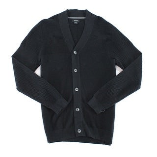 Alfani Black Mens Size Small S Button-Front Cardigan Ribbed Sweater