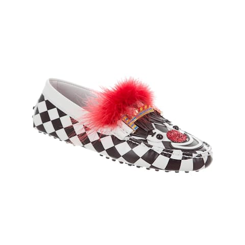 Tod's Women's Leather Checkered Circus Loafers White
