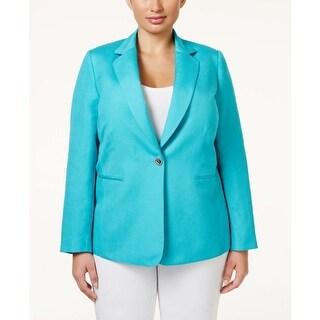 Tahari ASL Womens Jacket Linen One-Button Closure