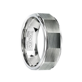 FAUSTUS Brushed Tungsten Wedding Ring with Concave Design & Polished Edges by Crown Ring - 8mm