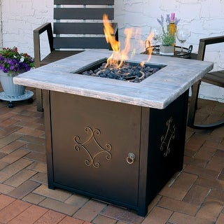 Sunnydaze Square Outdoor Propane Gas Fire Pit Table with Lava Rocks - 30-Inch