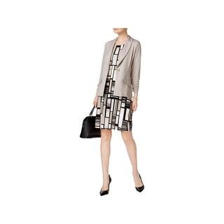 Kasper Womens Knit Blazer Shawl-Collar Office Wear