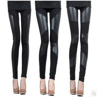 Best choice Fashion Womens Sexy Stretch Black Faux Leather Splicing Tights Legging Pants Attractive design