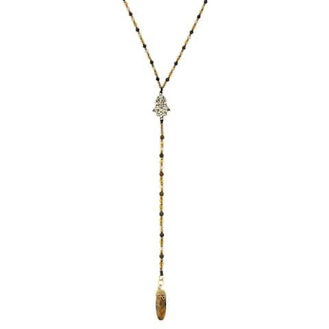 Handmade Stylish Hamsa Hand of Protection Tiger's Eye Cotton Rope Lariat Necklace (Thailand) - Brown
