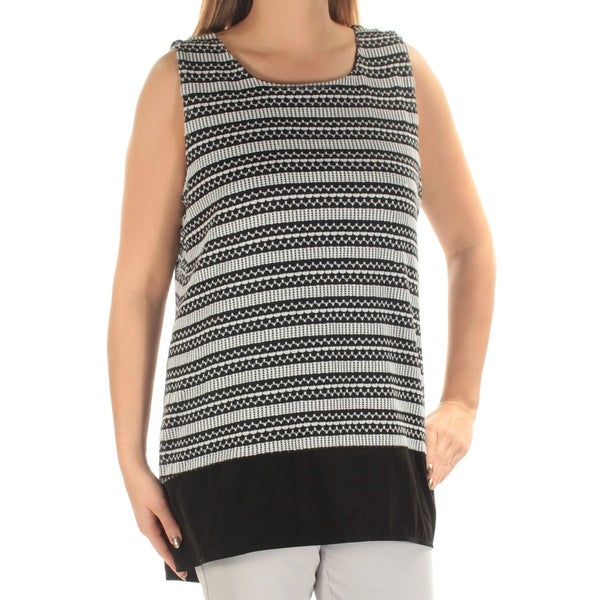 0c6834e596898 Shop ALFANI Womens Black Layered Striped Sleeveless Jewel Neck Hi-Lo Top  Size  XL - Free Shipping On Orders Over  45 - Overstock - 21263960