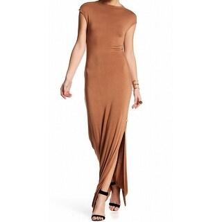 Nytt NEW Brown Women's Size XS Side Slit Draped Back Maxi Dress