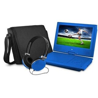 Ematic Epd909bu 9In Swivel Blue Portable Dvd Player W/ Matching Headphones & Bag