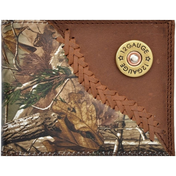 Badger Western Wallet Mens Leather Bifold Lacing Conchos Camo - One size