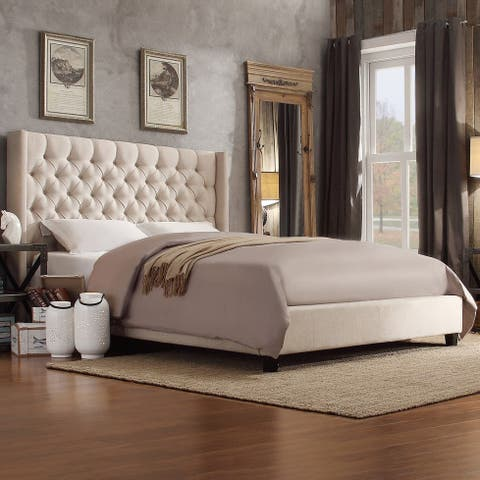 Naples Wingback Button Tufted Upholstered Queen Size Bed by iNSPIRE Q Artisan