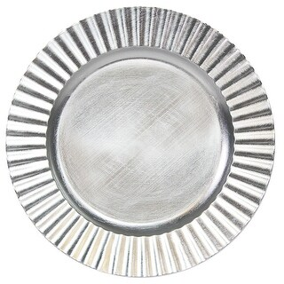 "Palais Dinnerware 'Plaque De Charge' Collection - 13"" Elegent Charger Plate (4, Silver Flower)"