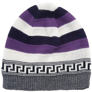 Versace VHB0386 004 Purple/White Knitted Wool Blend Beanie Hat