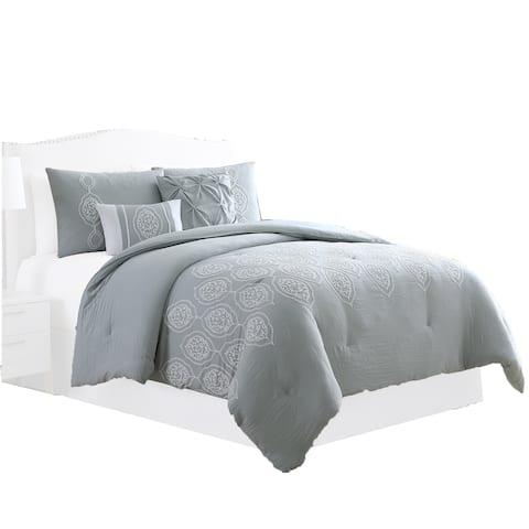 Ohio 5 Piece Queen Comforter Set with Scrolled Motifs, Gray and White by The Urban Port