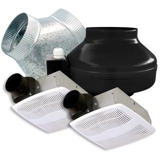 Air King ILK24 130 CFM Ceiling Mounted In-Line Exhaust Fan Kit with Double Inlet