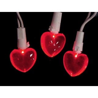 Set of 20 Red LED Mini Valentine's Day Heart Christmas Lights - White Wire