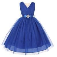 Little Girls Royal Blue V Neck Rhinestone Brooch Tulle Flower Girl Dress 2-6