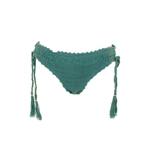 Raisins Olive Cancun Crochet Cheeky Bikini Bottom L