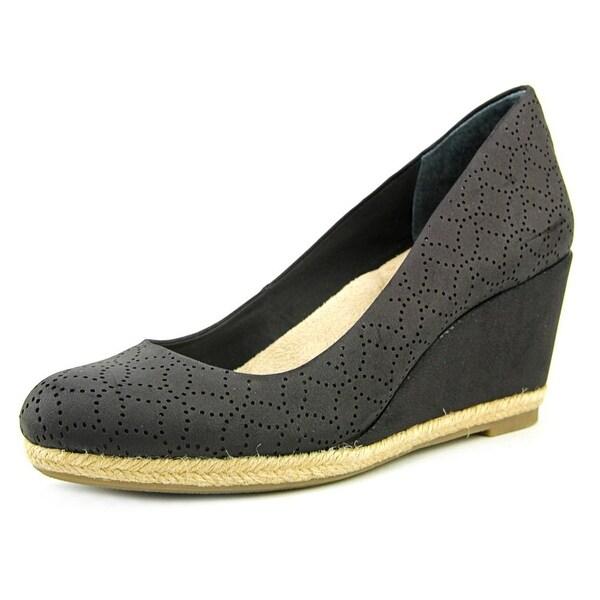 Giani Bernini Ozara Women Open Toe Leather Black Wedge Heel