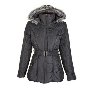 Rampage Charcoal Grey Faux-Fur-Trim Hooded Belted Puffer Coat M