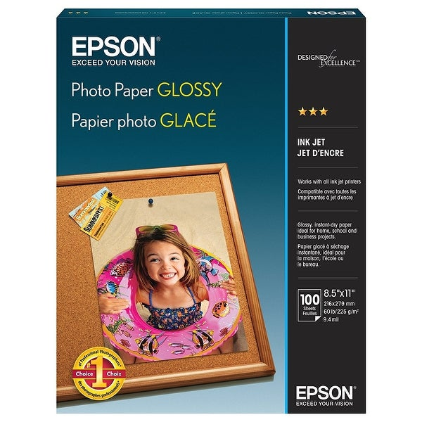 Epson S041271 Photo Paper Glossy 8.5X11 Inches 100 Sheets