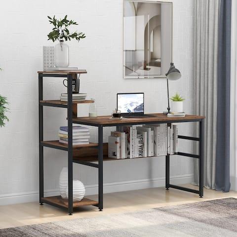 Nestfair Home Office Computer Desk with 4-Tier Storage Shelves
