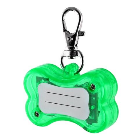 Pet Plastic Bone Shape 3 Modes LED Flash Light Safety Pendant Name ID Tag Green